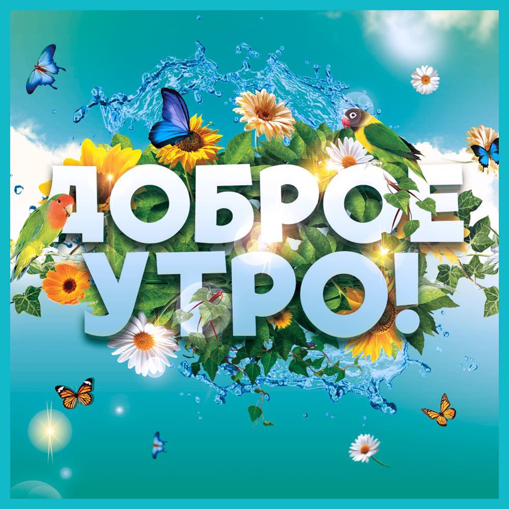 Графическая открытка доброе утро лето с цветами, птицей и бабочками.