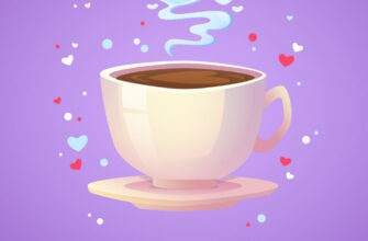 Сиреневая открытка доброе утро любимый мой с рисунком чашки кофе на блюдце и сердечками.