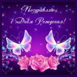 Фиолетовая открытка с бабочками на день рождения.