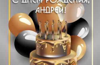 Открытка с днем рождения андрей с тортом и воздушными шарами.