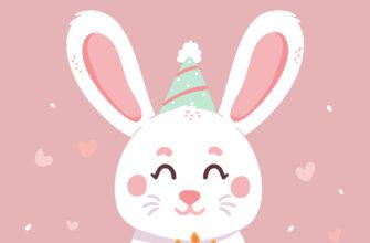 Розовая открытка с днем рождения детям зайчик с тортом.