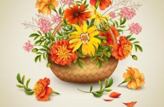 Открытка с днем рождения женщине красивые цветы в корзине.