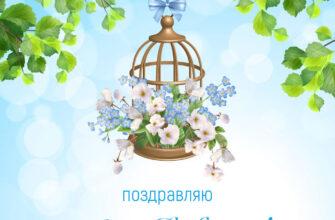 Поздравительная открытка с днём рождения женщине подвесная цветочница на фоне зелёных веток и голубого неба.