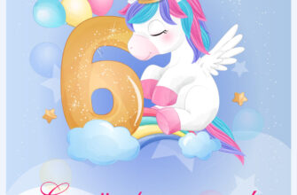 Голубая картинка - поздравление с днем рождения ребенку 6 лет с рисунком единорога в короне с воздушными шариками.
