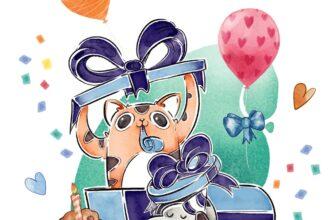 Рисунок с днем рождения мальчику ребенку с кошкой, собакой и воздушными шарами.