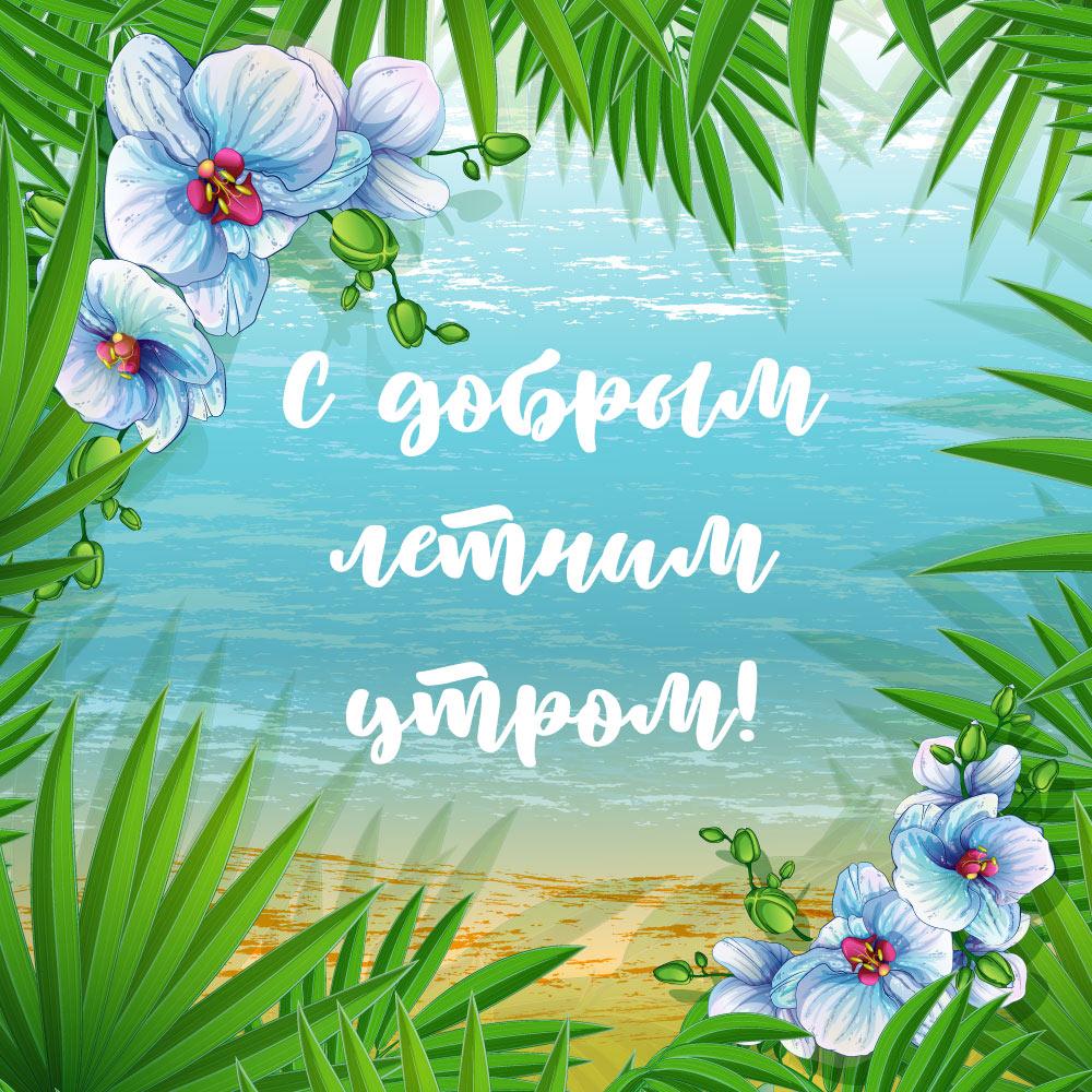 Картинка с добрым летним утром с зелёными листьями пальмы и голубыми цветами на фоне моря.
