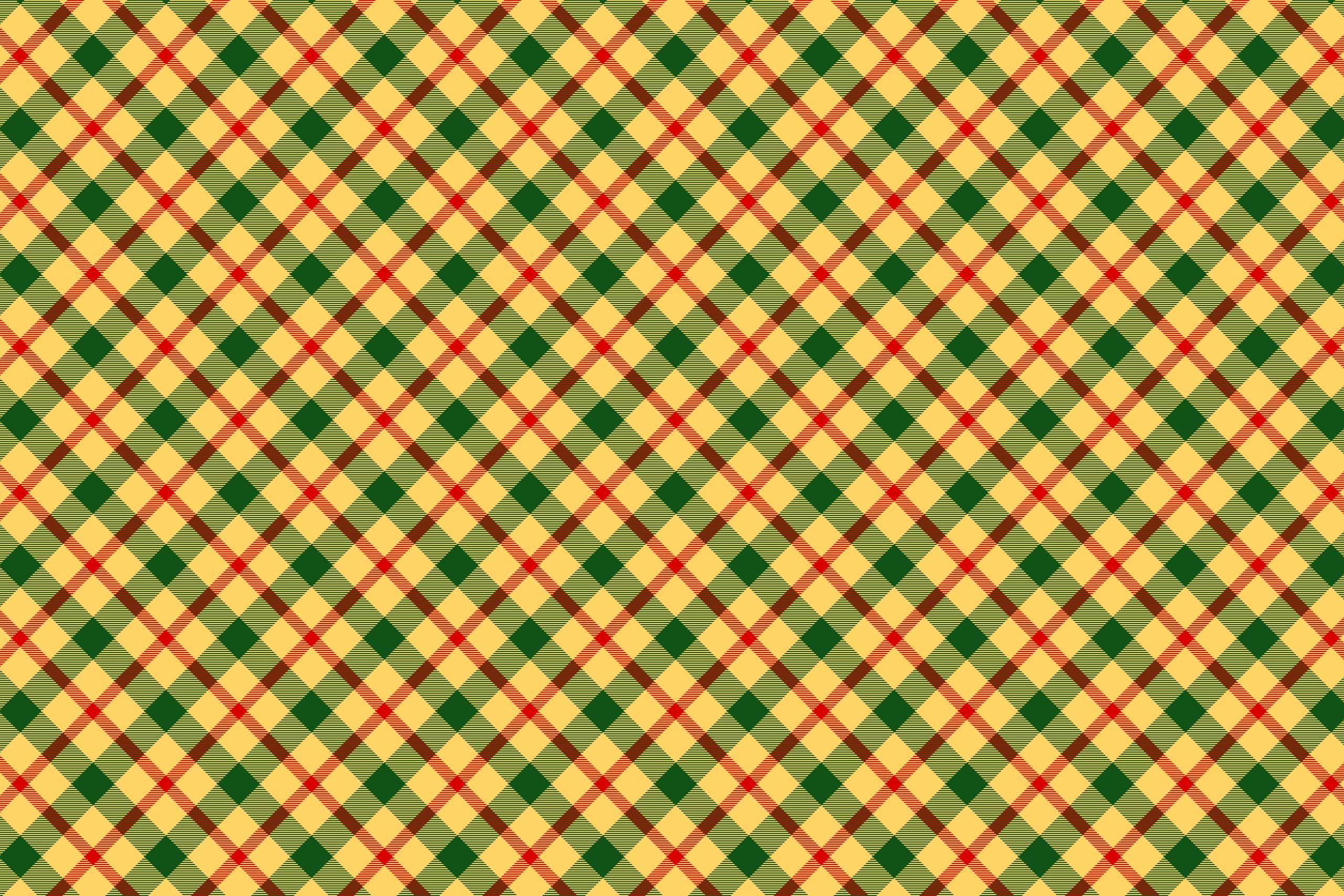 Клетчатая ткань с зелёными и красными линиями на жёлтом фоне.