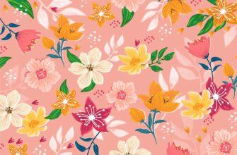 Цветочный фон для фотошопа с оранжевыми растениями на розовой ткани.