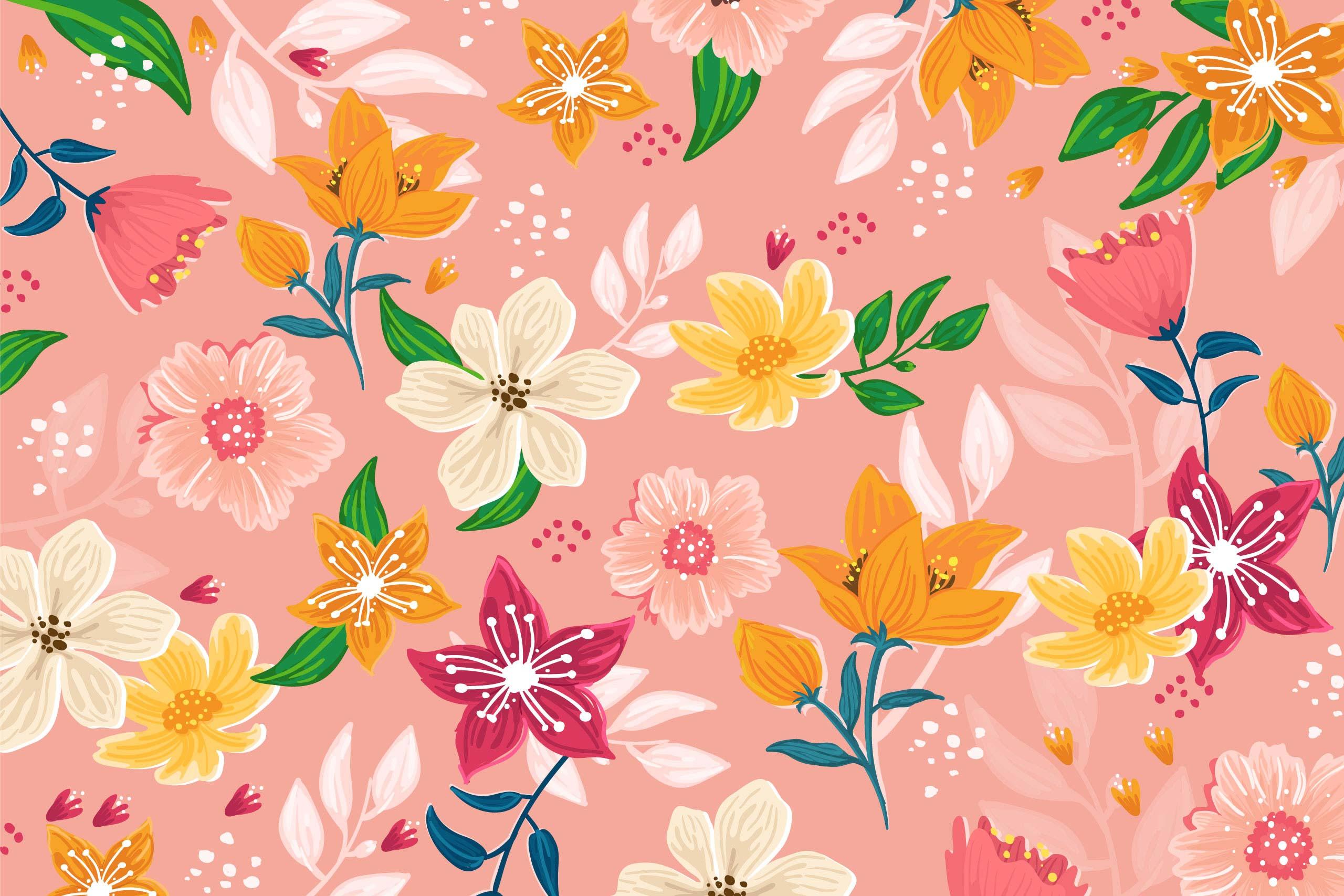 Цветочный розовый фон с оранжевыми растениями.