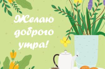 Картинка с надписью желаю доброго утра на фоне пикника на зелёной траве возле вазы с цветами.