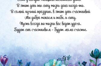 Голубая открытка маме с днем рождения взрослого сына с цветами и текстом.