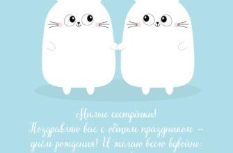 Голубой рисунок двух кроликов с текстом пожелания сестрам.