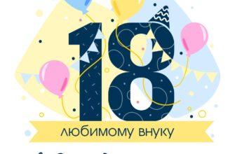 Жёлтая открытка с днем рождения внуку 18 лет с воздушными шарами.