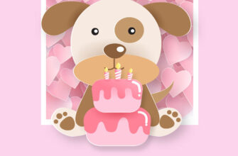 Розовая открытка с днём рождения ребенку девочке с игрушечной собачкой и тортом.
