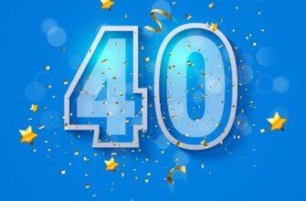 Голубая открытка сестре с днем рождения с текстом и цифрой 40.