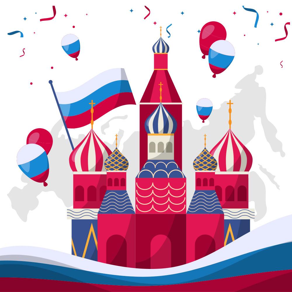 Храм Василия Блаженного и воздушные шары с символикой на день России.