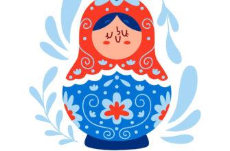 Рисунок красно-синей матрёшки с надписью день России.