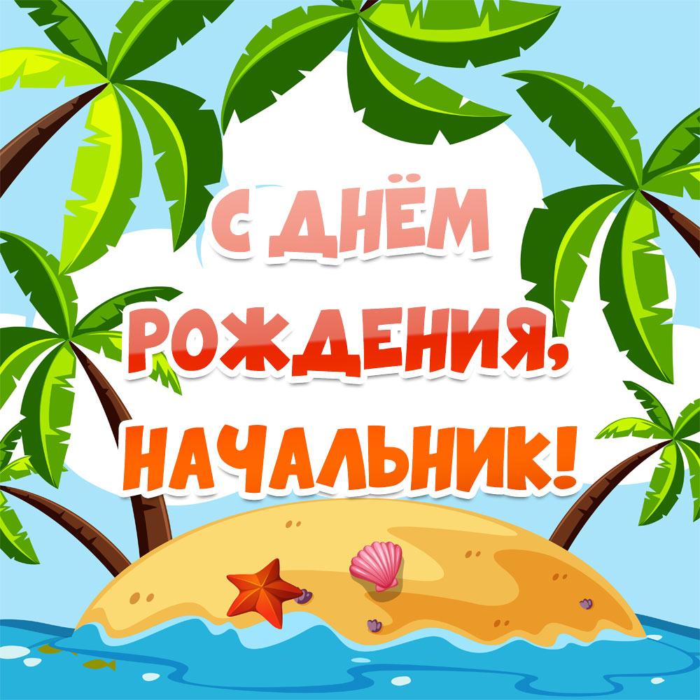 Рисунок острова с пальмами и красная надпись с днем рождения, начальник!