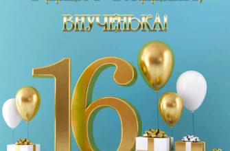 Голубая открытка с цифрой 16 и текстом с днём рождения внученька с воздушными шарами.