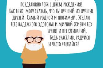 Текст поздравления дедушке на день рождения на голубой картинке со стариком в очках.