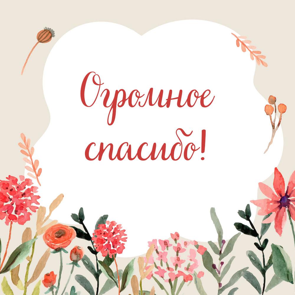 Акварельная картинка с цветами и фразой огромное спасибо!