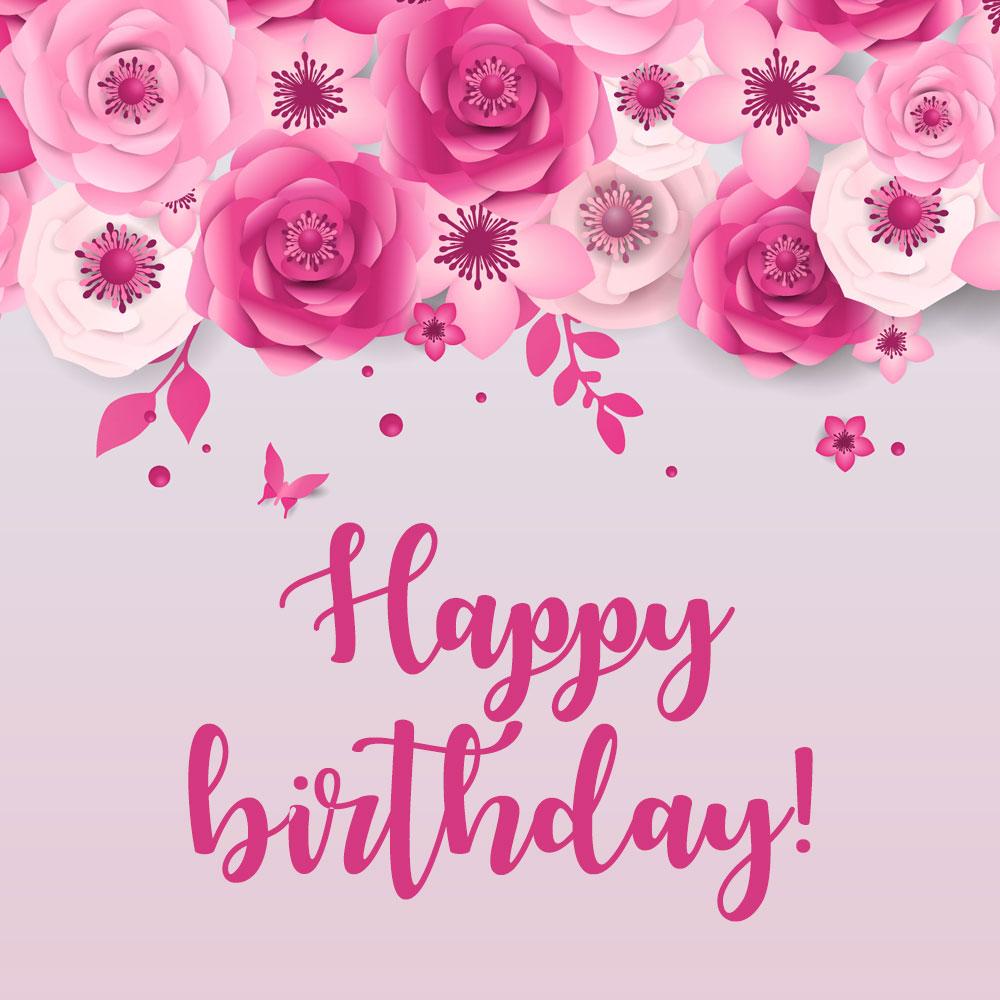 Розовая открытка девушке цветы и надпись happy birthday для поздравления с днем рождения.